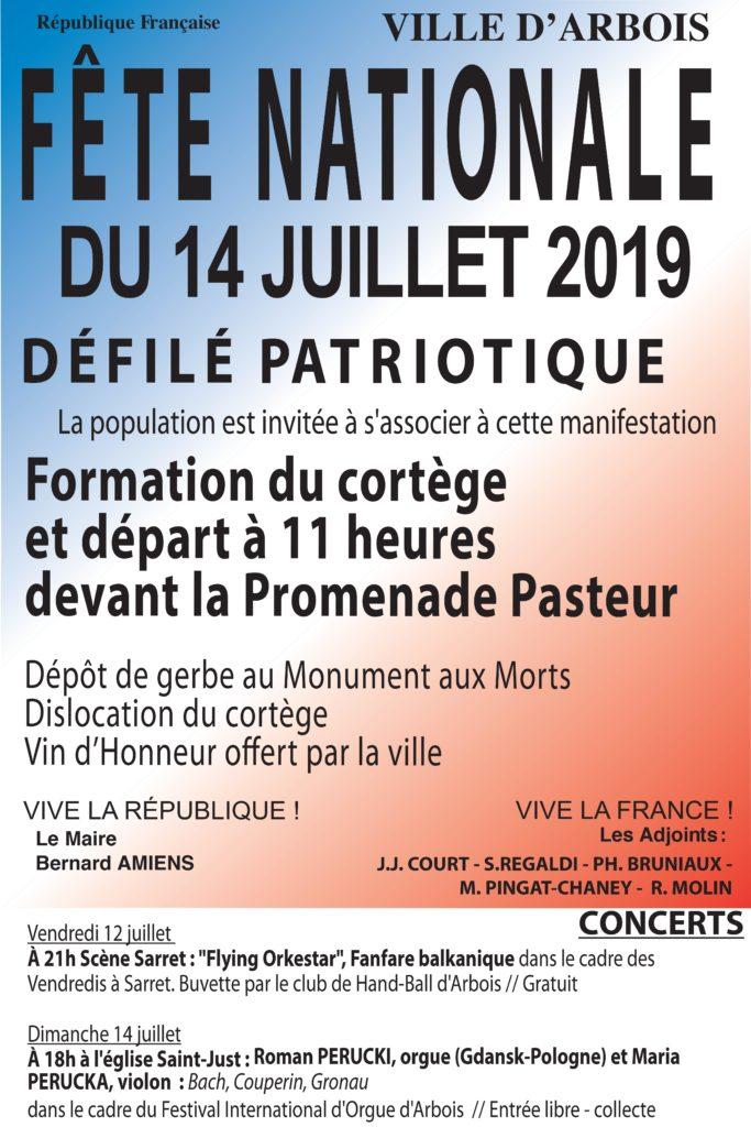affiche 14 juillet 2019 à Arbois